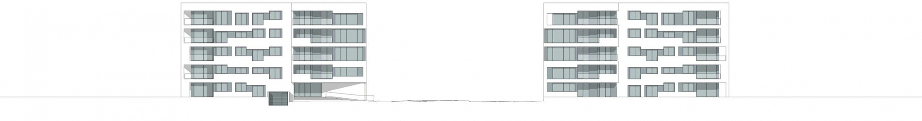 Wohnungsbau Stadtwerder Zeichnung Ansicht längs