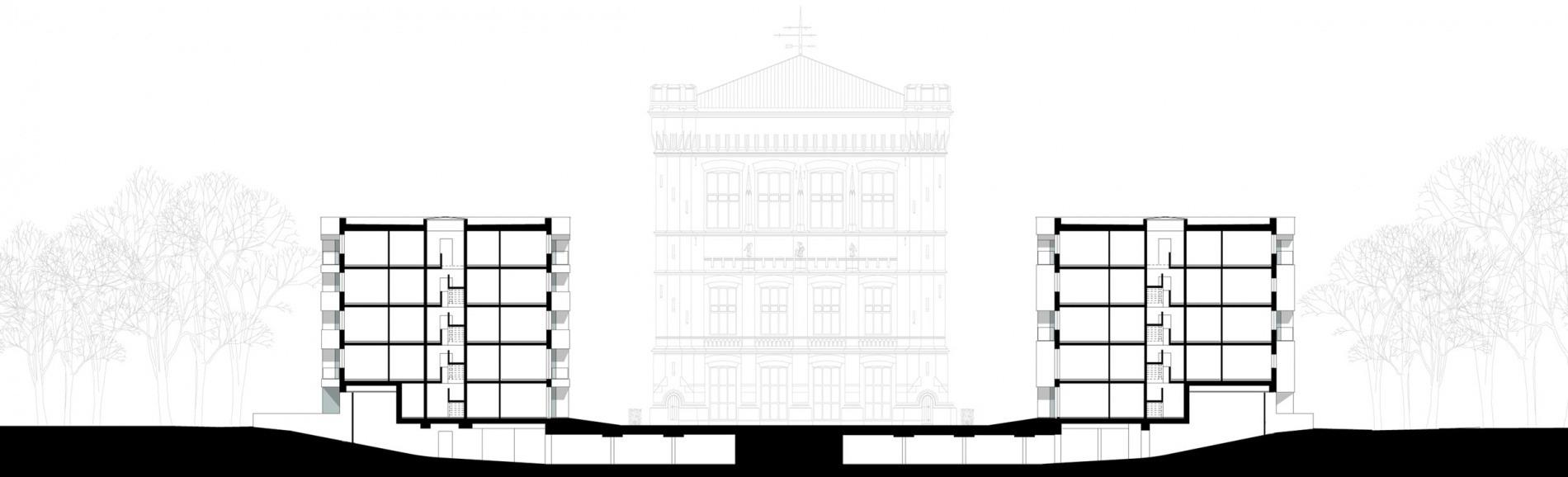 Wohnungsbau Stadtwerder Zeichnung Querschnitt